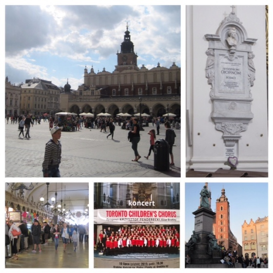 Clockwise from top left: Krakow's old town square; Here lies Chopin's Heart (Warsaw); Krakow in early evening; Krakow concert poster; Inside the Cloth Market, Krakow.